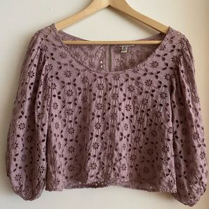 AEO Bubble sleeve eyelet lace top in pink